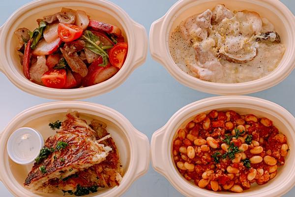 焼きカブとポークの温サラダ/里芋と鶏肉の豆乳クリーム 他